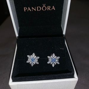 PANDORA Earrings Snowflake Blue Crystal SS